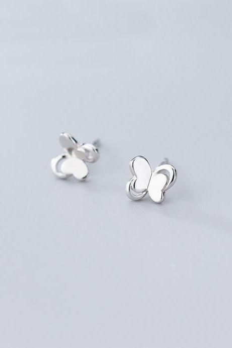Silver Hollow Butterfly Ear Studs, S925 Silver Butterfly Post Earrings, Women Animals Earrings, Everyday Earrings, Butterfly Ear Post