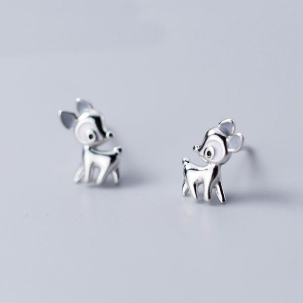 Silver Deer Ear Studs, S925 Silver Deer Post Earrings, Women Animals Deer Earrings, Everyday Earrings, Deer Ear Post