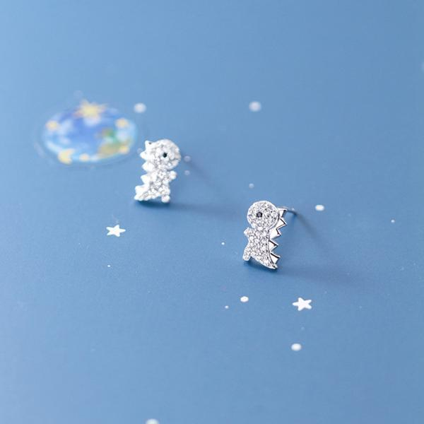 Silver Dinosaur Ear Studs, S925 Silver Dinosaur Post Earrings, Women Animals Earrings, Everyday Earrings, Dinosaur Ear Post